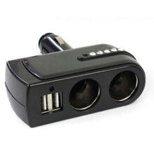 Farfi Car USB Charger Supply + Double Sockets Car Cigarette Lighter Extender Splitter as the pictures