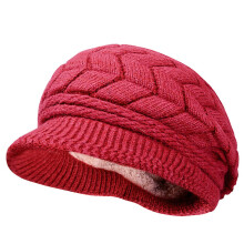 Zanzea 0051Women Ladies Crochet Knitted Cotton Blend Beret Hat Soft Warm Plush Linen Ski Baseball Cap Wine Red