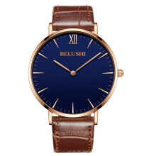 BELUSHI Men's Leather Strap Quartz Watch 530