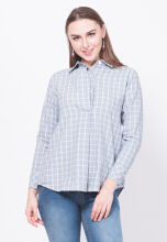 Point One MICHELLE Plaid shirt - Grey