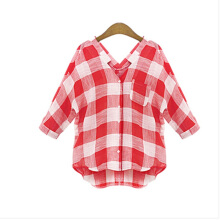 Jantens Casual loose summer blouse female red plaid shirt women clothes plus size S-5XL