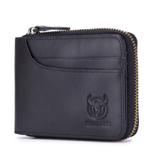 Bullcaptain Zip Around Wallet RFID Blocking Secure Leather Card Holder Wallet for Men -Black