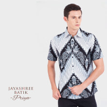 JAYASHREE BATIK Slim Fit Short Sleeve Priya - White