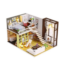 [OUTAD] Simple City Room Doll House Miniature DIY 3D Dollhouse Toys With Furnitures Multicolorwithout cover