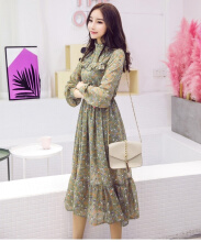 Ninataly New Floral Long Sleeve Chiffon Women Dress Elastic Waist Korean New Mosaic Retro Womens Dress Light Green S