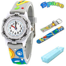Keymao Outer Space Waterproof 3D Cute Cartoon Silicone Wristwatches Gift for Little Girls Boy Kids Children Grey