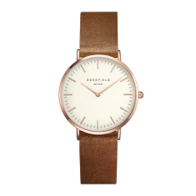 ROSEFIELD The Tribeca Gold White Dial Watch with Brown Strap [TWBRRC-T55]