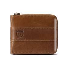Bullcaptain RFID Antimagnetic Vintage Genuine Leather 11 Card Slots Coin Bag Wallet For Men Yellow Brown