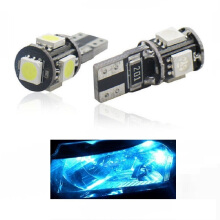 JMS - 1 Pair (2 Pcs) Lampu LED Mobil / Motor / Senja T10 w5w / Wedge Side Canbus 5 SMD 5050 Crystal Blue