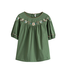INMAN 1882012294 Blouse Women Round Collar Flower Embroidery Causal Blouse
