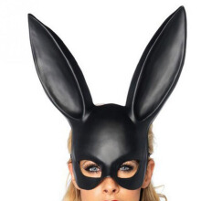 Anamode Rabbit Ears Face Mask Cosplay Costume Masquerade Props Tool Event - Black -One Size