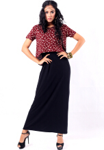Point One MILA Crop Tee Maxi Dress Maroon Black