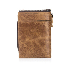 Bullcaptain® Men Genuine Leather Brown 11 Card Slots Zipper Wallet Hipster Wallet with Coin Bag -Brown