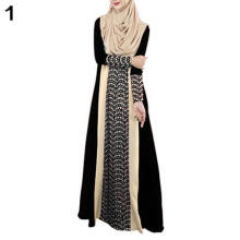 Farfi Muslim Arab Jilbab Abaya Islamic Ethnic Lace Splicing Long Sleeve Maxi Dress