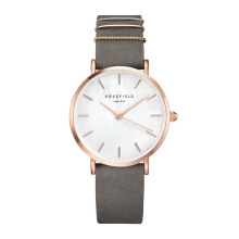 ROSEFIELD The West Village Rose Gold White Dial Watch with Elephant Grey Strap [WEGR-W75]
