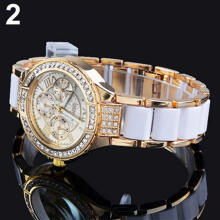 Farfi Women Roman Numerals Rhinestone Alloy Analog Quartz Dress Wrist Watch