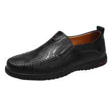 Zanzea Men Large Size Cow Leather Hand Stitching Soft Sole Casual Shoes Black