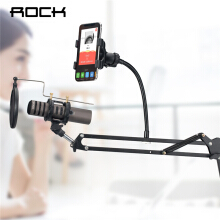 ROCK 2 in 1 Microphone & Phone Stand Holder Mount 360 Degree for 3-6 inch Smartphone Adjustable Recording Microphone Clip Black