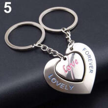 Farfi Couple Lovers Heart Key Chain Ring Casual Trinket Jewelry Valentine's Day Wedding Gift 5