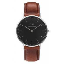 Daniel Wellington Classic Black St Mawes 40mm Silver Case