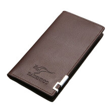 COZIME Men Purse Long Design Business Casual Money Bag Leather Wallet Gift For Brown