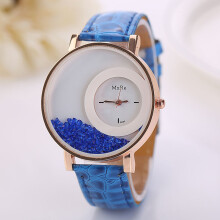 PEKY Casual fashion ladies leather strap watch sandpaper rhinestone bracelet business dress watch