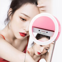 ivolks Universal Selfie LED Phone Luminous Ring Photography Flash Light For Xiaomi iPhone Sumsang Huawei Oppo Smartphone Pink