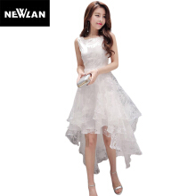 Newlan Summer long dress O-neck sleeveless sweet prom dress white organza high evening dress long dress