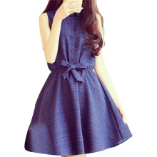 SiYing Korean version of the doll collar sleeveless bow tie plaid dress