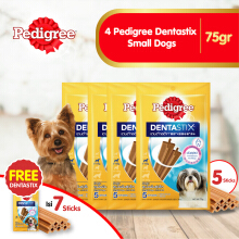 [isi 4 Pack] Pedigree Dentastix Small Dogs 75gr Perawatan Gigi Anjing Free 1 dentastix