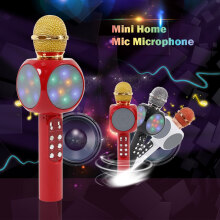 WILLKEY Wireless Bluetooth KTV Speaker Mini Home Mic Microphone Fashion Flash LED Light Hanheld Microphone For Mobile Phone Musi