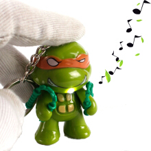 AD 2pcs Led Sound Figure Toys Flashlight Keychain -One Size -Ninja Turtle -Multicolor