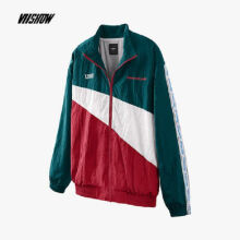 Ins V-427 Trendy brand new Korean version of the autumn and winter jacket female Hip hop jacket-Green&Red S