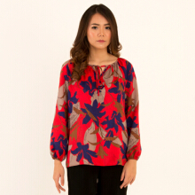 KORZ Floral Printed Blouse With Tie at Neck
