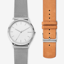 Skagen Jorn - White Round Dial 40mm - Leather - Silver & Brown - Jam Tangan Pria - SKW1092 - SL