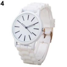 Farfi Women Geneva Silicone Band White Round Dial Quartz Analog Sports Wrist Watch