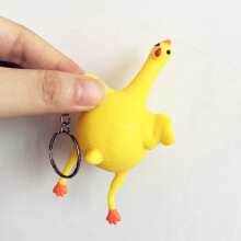 Jantens Decompression toy fun keychain squeeze mother egg chicken deceive Yellow