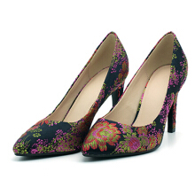 Flower Embroidery Thin Heels Pumps Blue 36