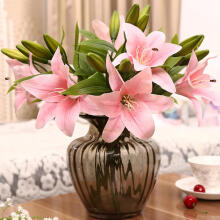Farfi 3 Heads Artificial Fake Lily Flowers Bouquet Home Garden Party Wedding Decors