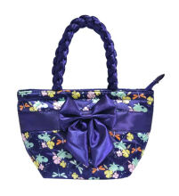 Naraya Floral Satin Quilted Trapeze Handbag with Ribbon Electric Blue