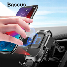 Baseus Intelligent Sensor Car Phone Holder for iPhone X Xs XR Fast QI Wireless Charger Air Vent Mount Mobile Phone Holder Stand - Black