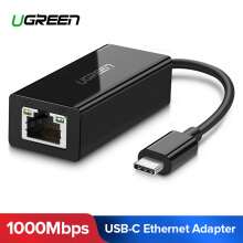 UGREEN Type-C Network Adapter USB-C to 10/100/1000 Gigabit Ethernet LAN Adapter for Samsung S8 Samsung S9 USB 3.1 Type C Thunderbolt 3 to RJ45 Gigabit Ethernet Lan Network Adapter Black