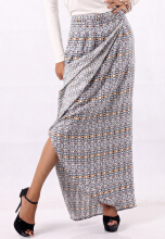 IGGY GEO tribal print wrap long skirt with side pockets