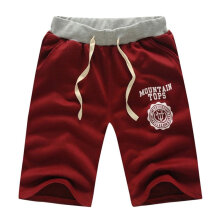[COZIME] Summer New Men Casual Sports Beach Shorts Five Sub Pants Waistband Classic Wine Red1
