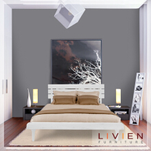 Tempat Tidur Bed Aquilla Series White Set - Queen Bed - Divan Tanpa Kasur/Matras- LIVIEN FURNITURE