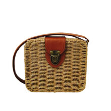 [LESHP]Square Straw Vintage Bag Rattan Woven Handbag Ladies Knitted Messenger Bags Brown