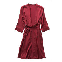 Farfi Sexy Women Lace Trim Half Sleeve Silk Robe Babydoll Nightdress Kimono Sleepwear