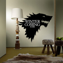 JDWonderfulHouse JDwonderfulhouse T-5 Game Of Thrones Stark Family Emblem Ice Wolf Wall Stickers Engraved Wall Stickers