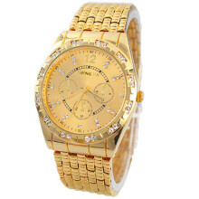 PEKY Men Watch Diamond Metal Band Analog Quartz Fashion Watch Design Gold Watch Relogio Masculino