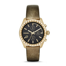 Diesel Kray Kray - Black Round Dial 40mm - Leather Strap - Gold Metallic - Chronograph - Jam Tangan Wanita - DZ5489 - SL